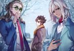 3boys black_eyes brown_hair coat endou_mamoru formal from_behind gouenji_shuuya hairlocs hands_in_pockets inazuma_eleven_(series) inazuma_eleven_go kidou_yuuto light_smile long_hair looking_at_viewer looking_back male_focus multiple_boys nanjou_(sumeragimishiro) necktie no_headband older red_eyes scarf short_hair snowflakes suit sunglasses tree winter