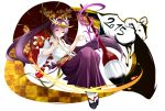 2015 androgynous autumn_leaves calligraphy_brush flower full_body gochiwa hair_flower hair_ornament hair_stick hakama haori headpiece highres holding holding_umbrella japanese_clothes leaf leaf_print long_hair paintbrush pointing purple_hair puzzle_&_dragons ram sandals simple_background solo very_long_hair violet_eyes white_background yomi_(p&d)