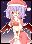 >;d 1girl alternate_costume bat_wings christmas gaius_(nikoniko2) hat highres leaning_forward looking_at_viewer navel purple_hair red_eyes remilia_scarlet santa_hat short_hair solo touhou v_arms wings