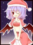 >;d 1girl alternate_costume bat_wings christmas gaius_(nikoniko2) hat highres leaning_forward looking_at_viewer navel purple_hair red_eyes remilia_scarlet santa_hat short_hair solo touhou v_arms wings