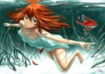 1girl brown_hair gia green_eyes long_hair original solo underwater