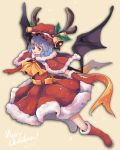 1girl alternate_costume antlers bat_wings blue_hair elbow_gloves fuente gloves hat highres merry_christmas open_mouth red_eyes red_nose reindeer_antlers remilia_scarlet ribbon santa_costume santa_hat short_hair smile solo touhou wings
