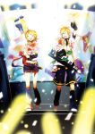 1boy 1girl blonde_hair bouquet brother_and_sister closed_eyes detached_leggings detached_sleeves flower hair_ornament hair_ribbon hairclip headphones instrument kagamine_len kagamine_rin keytar microphone open_mouth ribbon ryou_(fallxalice) short_hair shorts siblings smile twins vocaloid waving