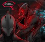 carrying carrying_over_shoulder english excalibur_(warframe) hat highres kuma_x sack santa_hat stalker_(warframe) sweatdrop warframe