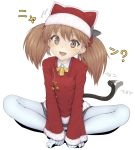 1girl ? bell bell_collar black_skirt blush brown_eyes brown_hair butterfly_sitting cat_tail christmas collar hair_ornament hands_on_feet hat highres japanese_clothes kantai_collection kariginu kemonomimi_mode looking_at_viewer pleated_skirt ryuujou_(kantai_collection) santa_costume santa_hat simple_background sitting skirt solo tail tail_wagging twintails urigarasu white_background white_legwear