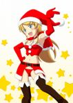 1girl blonde_hair blue_eyes elbow_gloves fang gloves hat highres kousaka_kirino long_hair midriff ore_no_imouto_ga_konna_ni_kawaii_wake_ga_nai panties sakaki_youma santa_costume santa_hat thigh-highs underwear