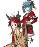 2girls adapted_costume animal_costume antlers bell belt blue_eyes blue_hair bow christmas fake_mustache fang hair_bow hair_ornament hairclip hat highres kaho_(amal135) long_hair mahou_shoujo_madoka_magica miki_sayaka multiple_girls ponytail red_eyes redhead reindeer_costume reins sakura_kyouko santa_costume santa_hat short_hair simple_background thigh-highs white_background zettai_ryouiki