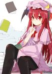 1girl alternate_costume bat_wings black_legwear book bow capelet cosplay crescent dress hat hat_bow head_wings koakuma long_hair long_sleeves mob_cap pantyhose patchouli_knowledge_(cosplay) red_eyes redhead simple_background sitting solo striped striped_dress touhou wide_sleeves wings yosu