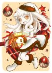 1girl :d box dress gift gift_box hat highres holding horns kantai_collection long_hair looking_at_viewer machinery mittens northern_ocean_hime open_mouth orange_eyes piano-alice santa_hat shinkaisei-kan smile solo white_dress white_hair white_skin