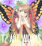 1girl blush brown_hair flower green_eyes hair_ornament jewelry long_hair looking_at_viewer open_mouth original solo taka_tony tanaka_takayuki twintails wings