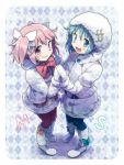 2girls :d blonde_hair blue_eyes bow fur_coat gloves hair_bow hair_ornament hairclip hood kaname_madoka kirikuchi_riku mahou_shoujo_madoka_magica miki_sayaka multiple_girls open_mouth pink_eyes pink_hair short_twintails smile twintails