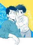 2boys english jungyun99 kuwabara_kazuma looking_at_viewer male_focus messy_hair multiple_boys pompadour smile urameshi_yuusuke yuu_yuu_hakusho