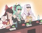 3girls :t bag bottle bow brown_hair buttons chair character_name crossover detached_sleeves earphones eating food green_hair hair_bow hakurei_reimu hatsune_miku idolmaster long_hair mefomefo multiple_girls musical_note ribbon-trimmed_sleeves ribbon_trim shijou_takane sitting smile sunglasses touhou vocaloid water_bottle white_hair