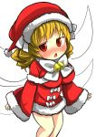 1girl blonde_hair blush chestnut_mouth fairy_wings gaoo_(frpjx283) hat highres luna_child miniskirt open_mouth red_eyes santa_costume santa_hat skirt solo touhou wings