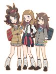 3girls agata_(agatha) alternate_costume bag blonde_hair blue_(pokemon) blue_eyes blush bowtie brown_hair clothes_around_waist full_body grin high_ponytail jacket_around_waist long_hair multiple_girls pleated_skirt pokemon pokemon_(game) pokemon_bw pokemon_frlg pokemon_xy school_bag school_uniform serena_(pokemon) skirt smile socks touko_(pokemon) white_background