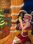 1girl animal_ears breasts christmas christmas_lights christmas_tree cleavage hat headphones highres large_breasts long_hair looking_at_viewer nitroplus one_eye_closed open_mouth pink_hair rabbit_ears red_eyes santa_hat smile solo star super_sonico thigh-highs