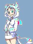 1girl alternate_costume animal_hood aqua_eyes blue_background bottomless dark_souls dragon_girl dragon_horns dragon_tail fang hands_in_pockets hood hoodie horns long_hair long_sleeves outline priscilla_the_crossbreed setz simple_background smile souls_(from_software) tail white_hair zipper