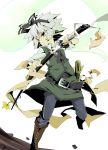 bad_id belt boots green_eyes grey_hair hairband hitodama konpaku_youmu konpaku_youmu_(ghost) la-do sheath solo sword touhou unsheathing weapon
