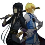 armor black_eyes black_hair blonde_hair blue_eyes bracelet flynn_scifo jewelry long_hair male multiple_boys nanamura over_shoulder ready_to_draw red_eyes sheath sheathed sleeves_folded_up smile sword tales_of_(series) tales_of_vesperia weapon weapon_over_shoulder white_background yuri_lowell
