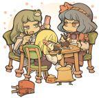 backpack bag bowl cellphone chopsticks food hat hounori kochiya_sanae moriya_suwako multiple_girls pet_bowl phone pyonta randoseru touhou yasaka_kanako
