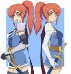 armor belt chastel_aiheap gloves hisuka_aiheap mikeneko_(stray-sheep) military military_uniform multiple_girls ponytail red_hair redhead shastere_aiheap sheath sheathed siblings sisters smile sword tales_of_(series) tales_of_vesperia tales_of_vesperia:_the_first_strike thighhighs twins uniform weapon yellow_eyes