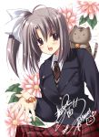 brown_hair candy cat fang flower necktie nishimata_aoi ootori_naru open_mouth oretachi_ni_tsubasa_wa_nai plaid plaid_skirt school_uniform short_hair side_ponytail skirt solo stuffed_animal stuffed_toy tartan