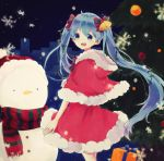 1girl bell blue_eyes blue_hair christmas christmas_tree gift hair_bell hair_ornament hair_ribbon hat hatsune_miku highres long_hair looking_at_viewer open_mouth ribbon santa_hat scarf sentaro207 skirt snowflakes snowman solo twintails very_long_hair vocaloid
