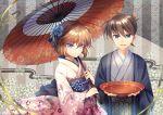 >:d 1boy 1girl :d bisonbison black_eyes blue_eyes brown_hair japanese_clothes kimono kudou_shin'ichi meitantei_conan miyano_shiho open_mouth oriental_umbrella short_hair smile umbrella