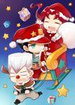 3boys animal_costume chibi christmas hat jean_pierre_polnareff jojo_no_kimyou_na_bouken kaguya_ame kakyouin_noriaki kuujou_joutarou multiple_boys reindeer_costume sack santa_costume santa_hat sleigh