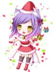 1girl :d animal_ears bare_shoulders bell box cat_ears cat_tail chibi choker christmas gift gift_box hair_ornament hairclip hat looking_at_viewer open_mouth original purple_hair santa_costume santa_hat shitou smile solo tail yellow_eyes