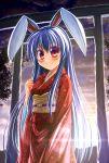 1girl animal_ears blush breasts hatomura_(tareneko_club) highres japanese_clothes kimono lavender_hair light_smile long_hair looking_at_viewer obi rabbit_ears red_eyes reisen_udongein_inaba sash sun temple_gate touhou yukata