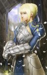 1girl ahoge armor armored_dress blonde_hair blue_eyes dress ex-trident fate/stay_night fate_(series) gauntlets green_eyes highres petals realistic saber solo