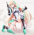 1girl angela_balzac blonde_hair blue_eyes bodysuit breasts elbow_gloves expelled_from_paradise gloves gun highres leotard long_hair low_twintails panikuru_yuuto smile solo thumbs_up twintails very_long_hair weapon