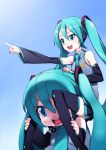 2girls blue_background blue_eyes green_hair happy hatsune_miku highres long_hair matsuryuu mikudayoo multiple_girls twintails vocaloid