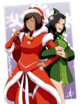 2girls adapted_costume alternate_hair_length alternate_hairstyle asami_sato avatar:_the_last_airbender black_hair blue_eyes brown_hair christmas daniel_macgregor dark_skin eyeshadow green_eyes hat korra legend_of_korra lips lipstick long_hair makeup multiple_girls sack santa_costume santa_hat short_hair smile