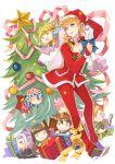 blonde_hair bruno_bucciarati chibi christmas_tree dio_brando fang gift giorno_giovanna guido_mista hat itoko_(aimless1010) jojo_no_kimyou_na_bouken leone_abbachio narancia_ghirga pannacotta_fugo sack santa_costume santa_hat star trish_una