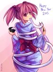 1girl 2015 ass blush bow bowl chopsticks eating food from_behind happy_new_year highres huge_ass japanese_clothes kaname_madoka kimono looking_back mahou_shoujo_madoka_magica maullarmaullar mochi new_year obi pink_eyes pink_hair restrained sash scrunchie short_twintails solo taut_clothes twintails wagashi you're_doing_it_wrong