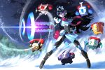 1girl 2015 arm_cannon blue_hair commentary cyborg floating hammer highres john_su long_hair original pickaxe red_eyes robot scarf signature snow very_long_hair weapon