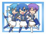 3girls :o ;d armor armored_dress bell blue_eyes blue_hair blue_legwear cape chibi closed_eyes fire_emblem fire_emblem:_fuuin_no_tsurugi gloves headband multiple_girls one_eye_closed open_mouth polearm purple_hair reverse_(bluefencer) siblings simple_background sisters skirt smile spear tate thany thigh-highs weapon white_legwear white_skirt yuno_(fire_emblem)