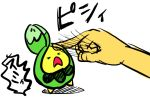 >_< budew motitaro open_mouth pokemon pokemon_(creature) simple_background translation_request white_background