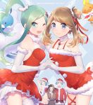 2girls 3boys altaria animal_costume aqua_eyes aqua_hair blue_eyes brown_hair elbow_gloves gloves haruka_(pokemon)_(remake) hat lucia_(pokemon) midriff mikuri_(pokemon) miyamotokannn multiple_boys multiple_girls navel one_eye_closed pokemon pokemon_(game) pokemon_oras reindeer_costume santa_costume santa_hat single_thighhigh thigh-highs torchic tsuwabuki_daigo yuuki_(pokemon)_(remake)