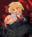 1girl blonde_hair bow darkness hair_bow iroyopon open_mouth red_eyes red_nose rumia short_hair solo touhou