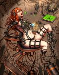 1girl armchair asymmetrical_bangs bangs black_panties breasts chair cyborg detached_legs feeding food from_side gia hair_over_one_eye headphones highres knee_up long_hair looking_at_viewer mecha mechanical_arm mechanical_parts missing_limb navel needle open_mouth orange_eyes orange_hair original panties repairing robot robotic_arms signature sitting solo sparks underwear welding
