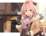 1boy astolfo_(fate) bag black_bow black_ribbon black_shirt bow braid brand_name_imitation brown_coat coat coffee coffee_cup commentary cropped cup disposable_cup fang fate/apocrypha fate_(series) fur_coat gloves hair_intakes hair_ribbon highres kusumoto_touka long_braid long_sleeves looking_at_viewer male_focus multicolored_hair open_mouth pink_hair ribbon scarf shirt single_braid smile solo streaked_hair trap violet_eyes white_gloves