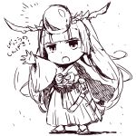 androgynous bangs blunt_bangs chibi hakama headpiece highres japanese_clothes katana long_hair long_sleeves open_mouth pikomarie puzzle_&_dragons sandals sheath simple_background sketch solo sword translation_request twintails weapon white_background wide_sleeves yomi_(p&d)