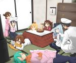1boy 6+girls :t admiral_(kantai_collection) akatsuki_(kantai_collection) anchor_symbol annoyed aqua_hair black_legwear black_skirt blonde_hair blue_eyes brown_eyes brown_hair cabinet calendar_(object) camisole casual cheek_poking eating flat_cap folded_ponytail food fruit game_&_watch ganondorf gloves green_hair hair_ornament hairclip hat head_rest headgear hibiki_(kantai_collection) highres ikazuchi_(kantai_collection) inazuma_(kantai_collection) indoors kantai_collection kneeling kotatsu long_hair long_sleeves lying mandarin_orange mario max_melon_teitoku military military_uniform mr._game_&_watch multiple_girls naval_uniform neckerchief nintendo nintendo_3ds on_stomach pajamas pants pantyhose peaked_cap pillow pillow_hug playing pleated_skirt poking prinz_eugen_(kantai_collection) purple_hair ribbed_sweater ryuujou_(kantai_collection) sailor_collar school_uniform serafuku short_hair sitting skirt sleeping sleeves_past_wrists super_mario_bros. super_smash_bros. suzuya_(kantai_collection) sweater table tatami teasing the_legend_of_zelda turtleneck twintails under_kotatsu under_table undressing uniform wariza watching_television white_gloves