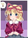 1girl blonde_hair blouse blue_eyes blush bust commentary_request grabbing hair_ribbon hammer_(sunset_beach) lightbulb medicine_melancholy open_mouth ribbon short_hair solo_focus spoken_lightbulb touhou