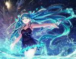 1girl :d ahoge aqua_eyes aqua_hair armpits dress hatsune_miku long_hair night night_sky open_mouth outdoors outstretched_arms sky smile solo spread_arms star_(sky) starry_sky steelleets twintails very_long_hair vocaloid wading water