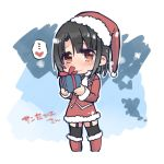 1girl adapted_costume bangs blush chibi dress garter_straps hat holding_gift kantai_collection kona_sleipnir looking_at_viewer parted_bangs red_dress red_eyes santa_boots santa_costume santa_hat short_hair smile takao_(kantai_collection) thigh-highs zettai_ryouiki