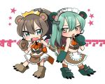 2girls adapted_costume animal_ears aqua_eyes aqua_hair ascot bear_ears bear_paws brown_hair crown green_eyes kantai_collection kumano_(kantai_collection) maid_headdress multiple_girls oomori_(kswmr) parody ponytail skirt suzuya_(kantai_collection) tagme yuri_kuma_arashi yurigasaki_lulu yurigasaki_lulu_(cosplay) yurishiro_ginko yurishiro_ginko_(cosplay)